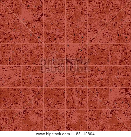 Granite square tile red and brown grunge texture seamless pattern, vector background