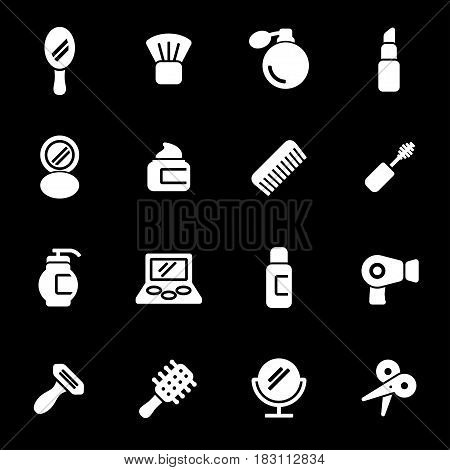 Vector white cosmetics icons set on black background