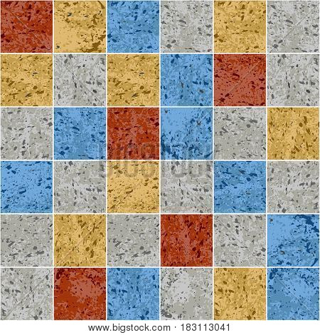 Colorful granite mosaic square tile grunge texture seamless pattern, vector background