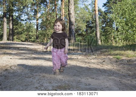 Summer is bright on a sunny afternoon in a pine forest is a little girl.