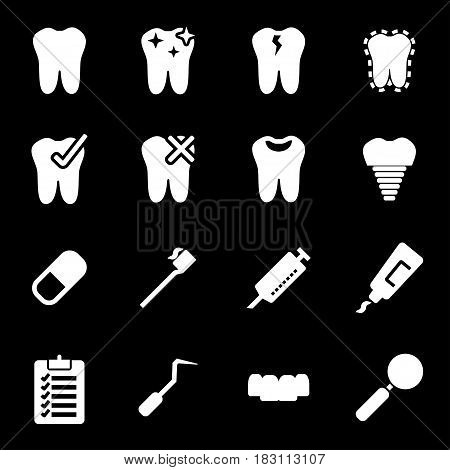 Vector white dental icons set on black background