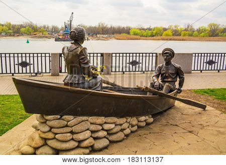 Sculpture on embankment of Don River in city of Rostov on Don depicts heroes of novel by Mikhail Sholokhov. Author sculptor Mozhaev. Russia, Rostov on Don, April 13, 2017