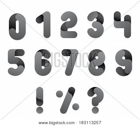 Numeral alphabeth. Black and White Number set. Isolated vector