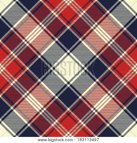 Check fabric texture diagonal lines seamless pattern. Vector illustration.