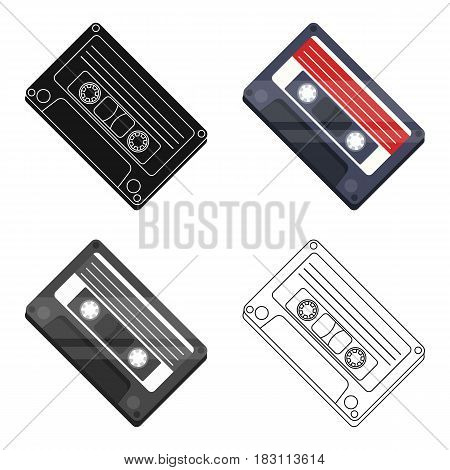 Audio cassette icon in cartoon design isolated on white background. Hipster style symbol stock vector illustration.