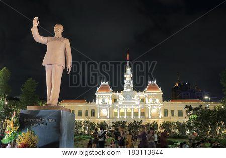 HO CHI MINH CITY VIETNAM - NOVEMBER 27, 2016: Unidentified people visit historical City Hall.