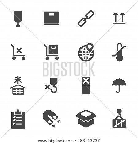Vector black marking of cargo icons set on white background
