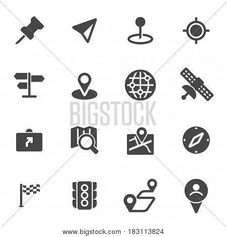 Vector black navigation icons set on white background