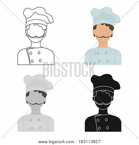 Chef icon in cartoon style isolated on white background. Pizza and pizzeria symbol vector illustration.