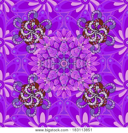 Template Colored mandala vector circle of zentangle hand drawn on colorful background.