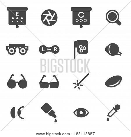 Vector black optometry icons set on white background