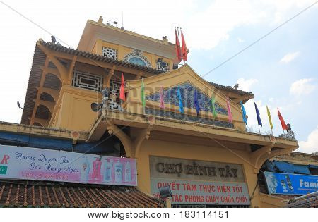 HO CHI MINH CITY VIETNAM - NOVEMBER 27, 2016: Binh Tay local market in Chinatown.