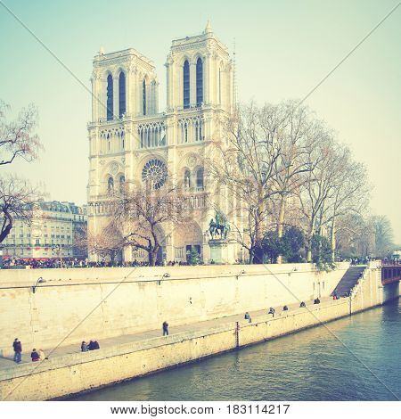 Notre Dame de Paris, France. Retro style filtered image