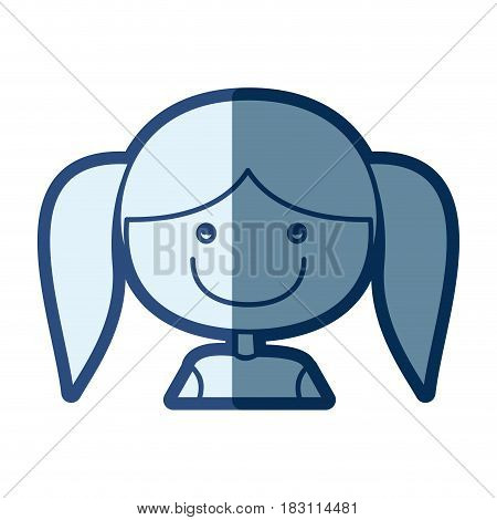 blue silhouette of caricature half body girl with pigtails and bow lace hair vector illustration