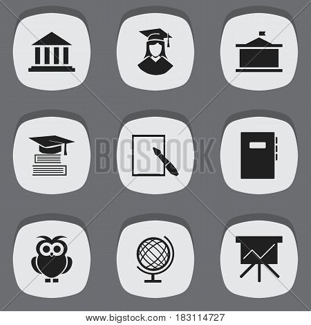 Set Of 9 Editable Science Icons. Includes Symbols Such As Night Fowl, Education, Notepaper And More. Can Be Used For Web, Mobile, UI And Infographic Design.