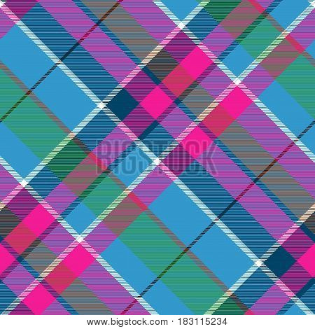 Fabric textile blue pink green check plaid seamless pattern. Vector illustration.
