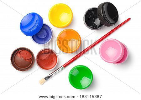 Gouache color paints with paint brush isolated on white background. Top view