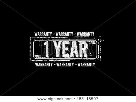 1 years warranty label icon vector vintage