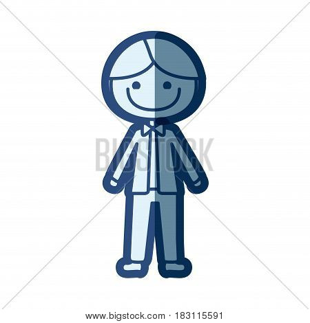 blue silhouette of caricature man in wedding suit and smiling vector illustration
