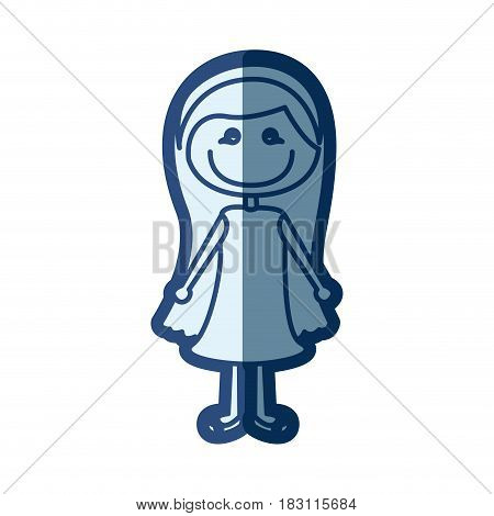 blue silhouette of caricature girl with long hair and dress vector illustration