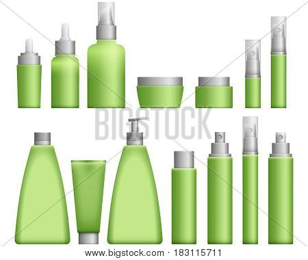 Realistic green Cosmetics bottles set on white background. Cosmetic cream containers and tubes for cream, lotion and shampoo, gel and balsam in pink colors. Vector Illustration