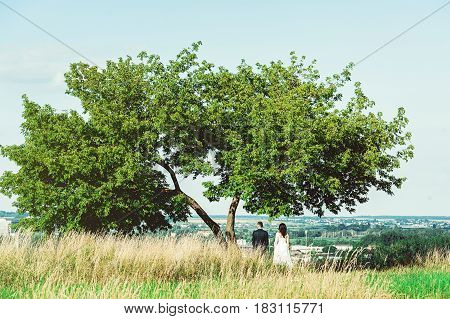 Wedding photo shooting. Bridegroom and bride standing under the simple tree at the edge of a city looking in the future.