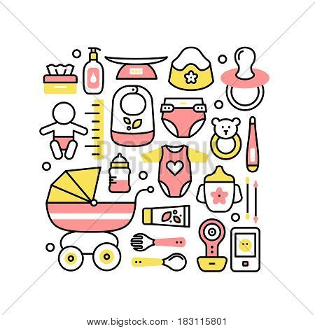 Collage with baby products for child care, development, hygiene and nursing. Modern thin line art. Linear style illustration with icons isolated on white.