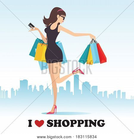 vector illustration of lady with shopping bag on backdrop