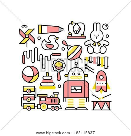Collage with toys for baby girls and boys. Kids learning games. Modern thin line art. Linear style illustration with icons isolated on white.