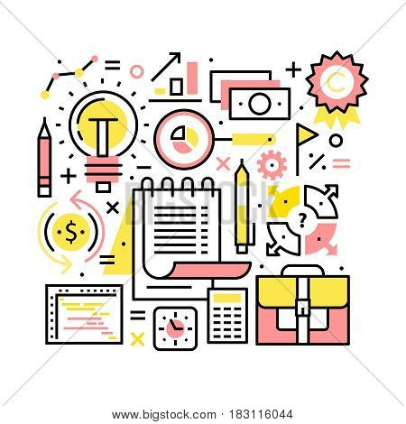 Business world concept. Planning, time management, statistics and human resources collage. Modern thin line art icons. Linear style illustrations isolated on white.