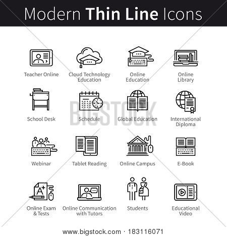 Online learning and seminars concept. Remote internet education computer technology. Web lectures and webinars. Modern thin line art icons. Linear style illustrations isolated on white.