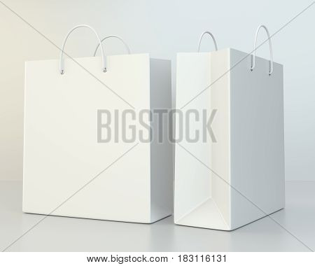 blank shopping paper bags template set. 3d rendering
