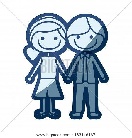 blue silhouette of caricature boy short hair and female side hairstyle with taken hands vector illustration