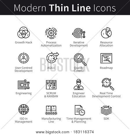 Business growth or startup development, time management and resources allocation. thin black line art icons. Linear style illustrations isolated on white.