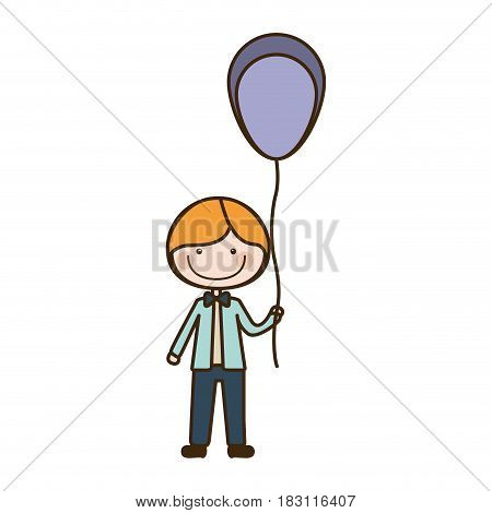 colorful caricature of smile kid with bow tie and balloon vector illustration