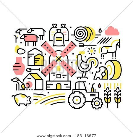 Farming life and agriculture collage. Domestic animals, tractor and village windmill. Modern thin line art icons background. Linear style illustrations isolated on white.