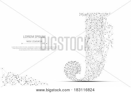 Abstract mash line and point the letter J on white background with an inscription. Starry sky or space, consisting of stars and the universe. Vector business illustration