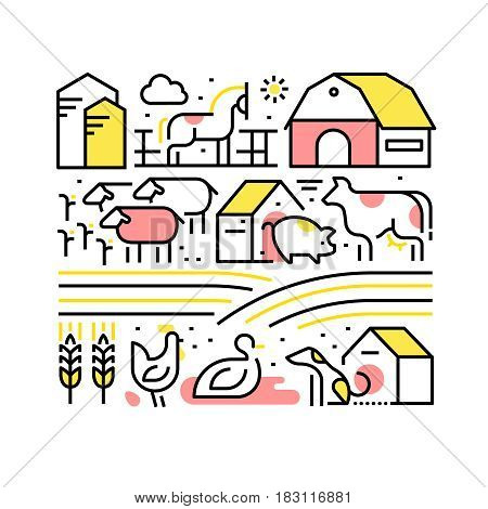Collage with domestic or farm animals and pets. Farming and agriculture concept. Modern thin line art icons. Linear style illustrations isolated on white.