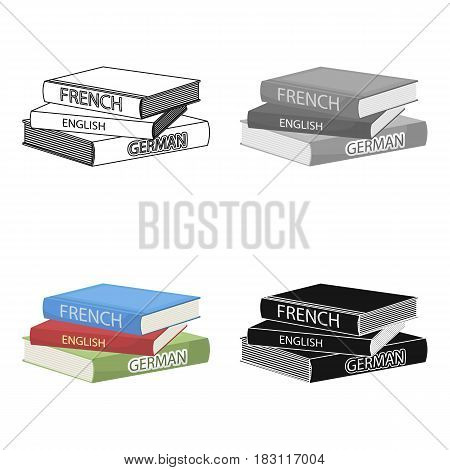 Various dictionaries icon in cartoon design isolated on white background. Interpreter and translator symbol stock vector illustration.