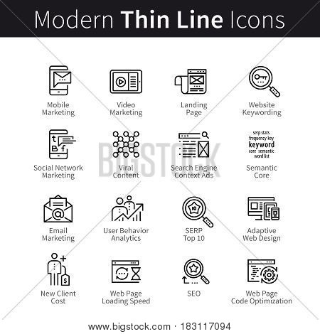 Internet marketing. SEO, Search Engine Optimization. Landing page web site keywords semantic, article, code and loading speed. thin black line art icons. Linear style illustrations isolated on white.