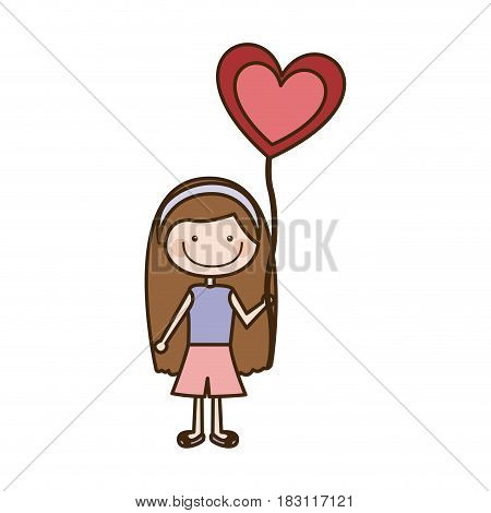 colorful caricature of smiling girl with t-shirt and short pants and balloon in shape of heart vector illustration