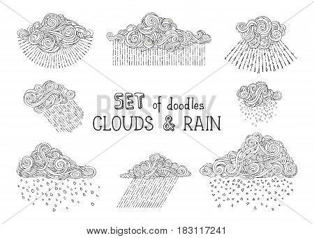 Vector Set Of Doodles Clouds And Rain Drops.