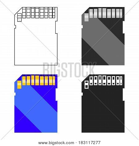 SD card icon in cartoon style isolated on white background. Personal computer symbol vector illustration.