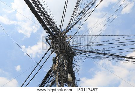 Electric wire telephone pole in Saigon Vietnam