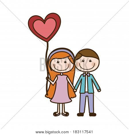 colorful caricature of couple him in formal suit and her in dress with balloon in shape of heart vector illustration