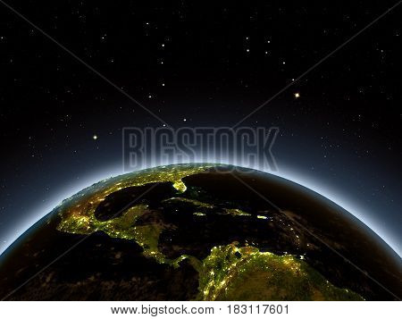 Central America At Night