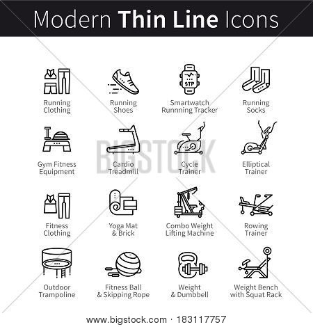 Set of sports and gym equipment treadmills or trainers. Clothes, shoes, trainers for doing sport, cardio, fitness and yoga. thin black line art icons. Linear style illustrations isolated on white.