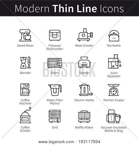 Set of kitchen utensils and appliances. Equipment and kitchenware for cooking, mixing, tea and coffee making. thin black line art icons. Linear style illustrations isolated on white.