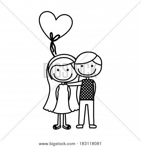 monochrome contour caricature of couple in formal suit and her in dress with balloon in shape of heart vector illustration