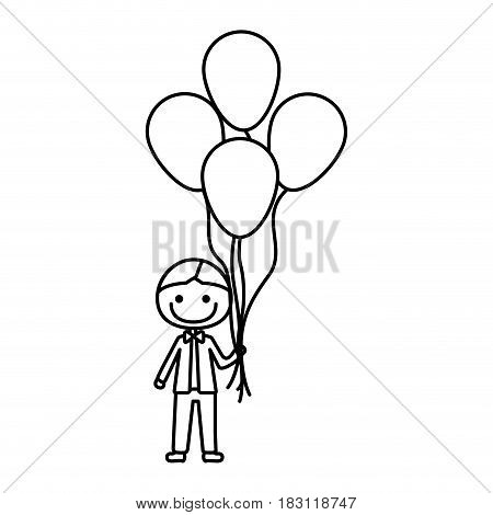 monochrome contour of caricature of smiling kid with bow tie and many balloons vector illustration